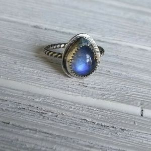 Rustic Sterling silver Moonstone ring